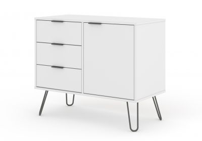 Augusta White Small Sideboard 1 Door 3 Drawers