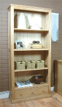 Mobel Oak Large 3 drawer oak bookcase