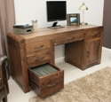 Shiro Walnut Twin Pedestal Computer Desk.