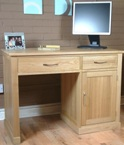 Mobel Oak Single pedestal oak computer desk