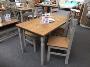 Corona Grey Rectangular 1.5m Dining Table with 4 x Design Chairs (Clearance)