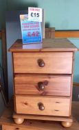 Kingston Pine 3 drawer bedside chest (Used)