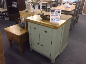 Toronto Oak and Grey Painted 2 door 1 Drawer Mini Sideboard (Clearance)