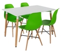 Aspen 140cm Table with  4 x Green Plastic chairs, Metal Cross, Wood legs.