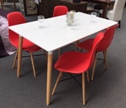 Aspen 140cm Table with  4 x Red Plastic chairs, Metal Cross, Wood legs. (Clearance)