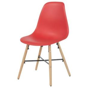 Aspen 2 x Red Plastic chairs, Metal Cross, Wood legs, (sold in pairs only)