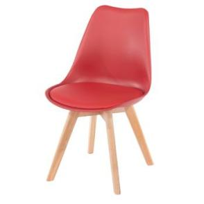 Aspen 2 x Red Plastic chairs, PU Seat, Wood legs, (sold in pairs only)