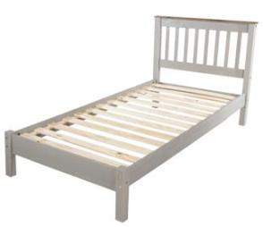 Corona Grey Washed Single Slatted Bed with Low Foot End.
