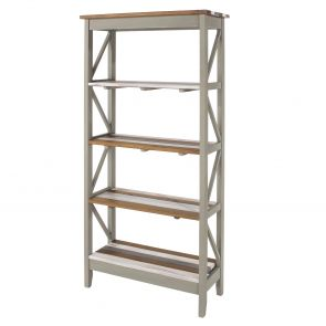Corona Vintage Grey Washed 5 Tier Wide Shelf Unit