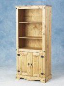 Corona Mexican tall bookcase with cupboard