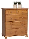 Richmond Pine 2+3 deep drawer chest