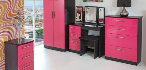 Black and Pink Gloss Bedroom
