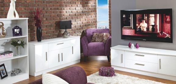 White High Gloss Living Room