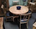 Juliette Oak Round Extending Pedestal Table with 4 Chairs (Clearance)