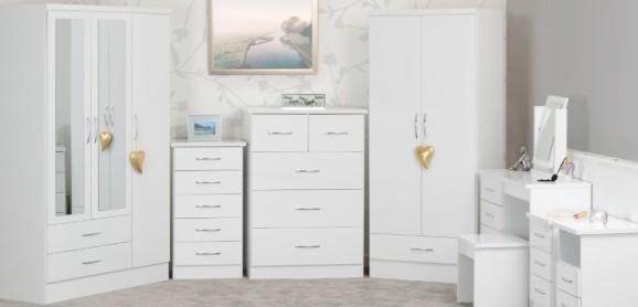 Nevada White Gloss Bedroom Furniture, White Bedroom Furniture Uk