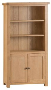 Compton Oak Large Bookcase with Cupboard Doors