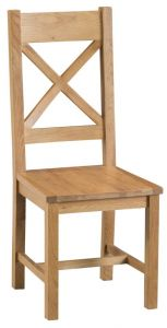 Compton Oak 2 x Cross Back Chairs with Wooden Seats