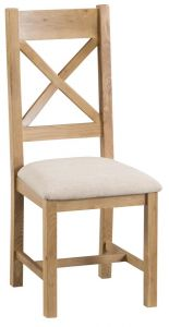 Compton Oak 2 x Cross Back Chairs with Fabric Seats