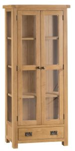 Compton Oak Display Cabinet with Glazed Doors and Sides