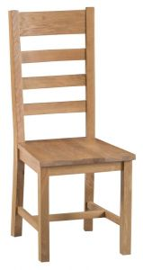 Compton Oak 2 x Ladder Back Chairs with Wooden Seats
