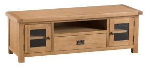 Compton Oak Large TV Unit with Glazed Doors