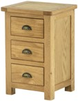 Seattle Oak 3 Drawer Bedside (Clearance)