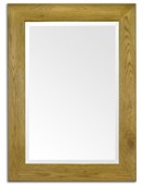 120cm x 94cm Oak Flat Frame Wall Mirror (Bevelled Glass)