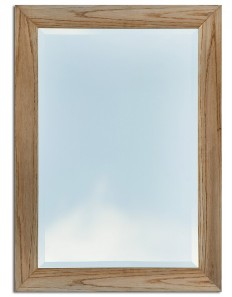 90cm x 64cm Oak Curved Frame Wall Mirror (Bevelled Glass)