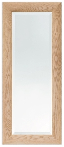 105cm x 44cm Oak Curved Frame Wall Mirror (Bevelled Glass)