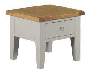 Toronto Oak and Grey Painted Lamp Table With Drawer